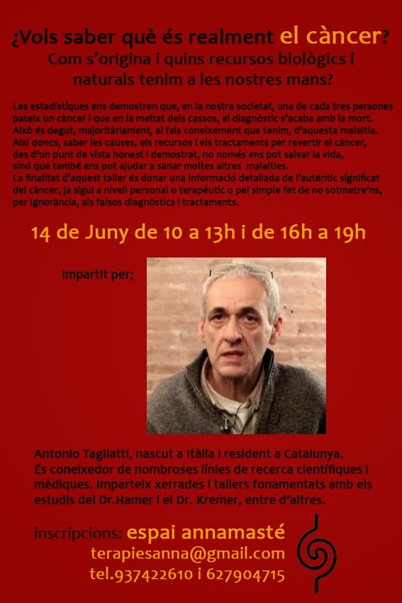 14 de junio 2014, en Manresa, Curso: ¿Qué es realmente el cáncer?